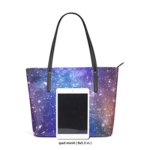 Totes Galaxy Shoulder Nebula Bags Away Handbag Women's Stars PU Far Top TIZORAX Purses Leather Handle Fashion 6qpwFq