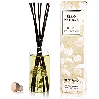 Urban Naturals Spring Blooms Scented Reed Diffuser Oil Set | Real Flowers in The Bottle! Bulgarian Rose, Egyptian Jasmine, Blue Orchid, Lily of The Valley, Amber | Great Idea