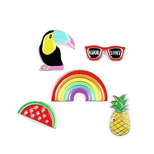 Enamel Summer Vacation Pins Set Pineapple Sunglasses Rainbow Watermelon Pins for Clothes/Bags/Backpacks