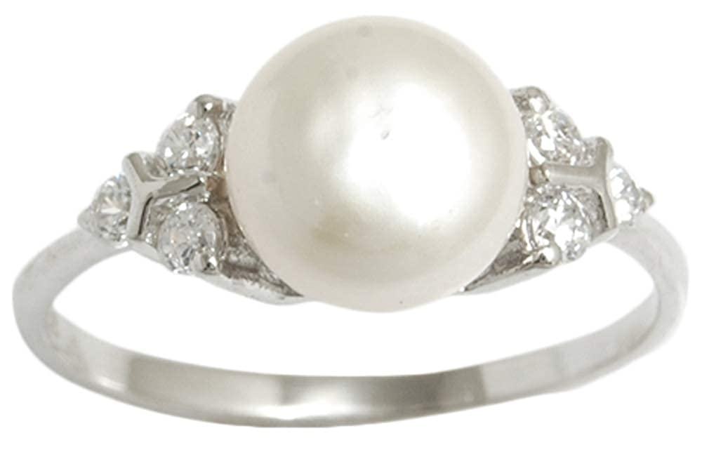 Banithani 9.25 Sterling Silver Faux Pearl Stone Indian Women Party Finger Ring Fashion Jewelry