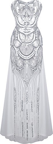Angel-fashions Women's Sequin Strapless Sweetheart Mesh Lace up Banquet Dress Large Silver