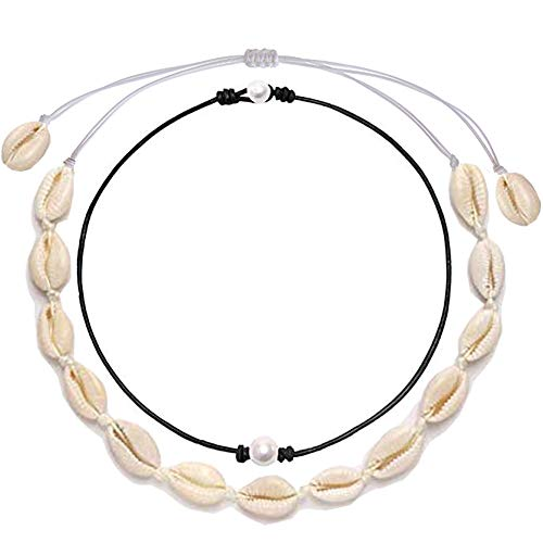 (URSKYTOUS Natural Shell Choker Necklace Single Simulated Pearl Choker Necklace Seashell Pearl Pendant Necklace Set Adjustable White Hawaii Beach Boho Cowrie Jewelry Gift for Women Girls)