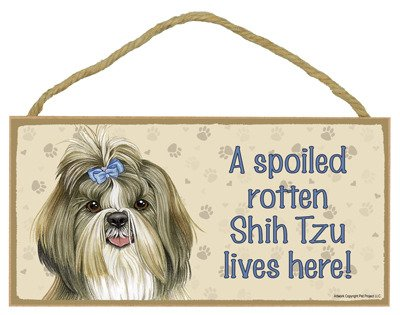 (SJT61966) A spoiled rotten Shih Tzu lives here wood sign plaque 5