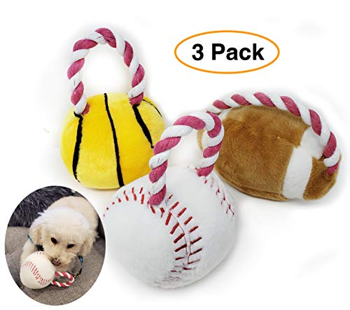 Pro Image Dog Sports Balls with a Squeaker | Soft Plush Toy, Puppy Play Toy (3 Pack) Basketball, Football & Baseball w…