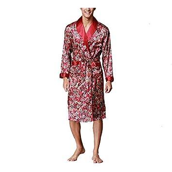 CanKun Para Hombre de Lujo de Seda de imitación Bata de baño Vestido Chal Collar Albornoz