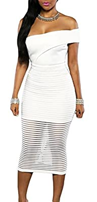 made2envy One Shoulder Sheer Striped Midi Dress