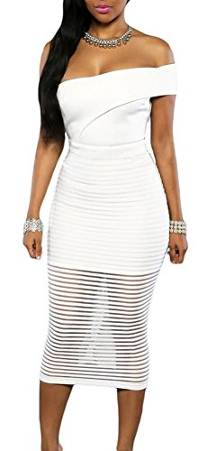 made2envy One Shoulder Sheer Striped Midi Dress (L, White) LC60937LW