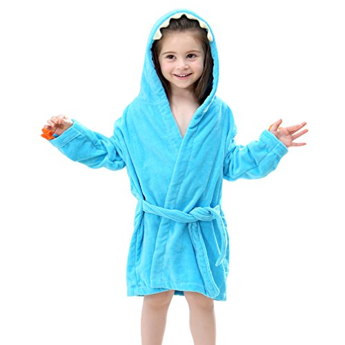 IDGIRL Cartoon Animal Dinosaur Style Hooded Bathrobe Baby Towel 7JY0245-B-OL (Toddler Girl Robe)