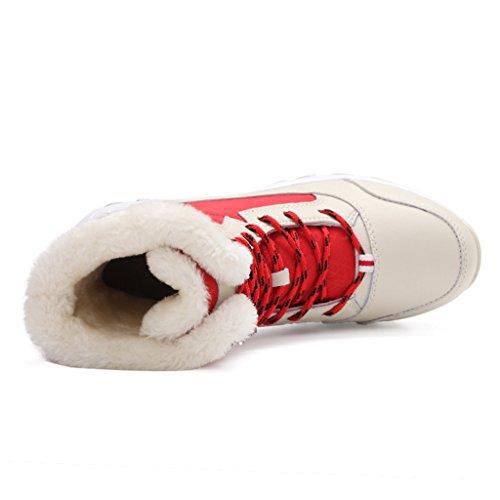 Jackshibo Donna Fodera In Pelliccia Stivali Invernali Stivali Da Neve Impermeabili Allaria Aperta Rosso