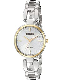 Women's 'Eco-Drive L' Quartz Stainless Steel Dress Watch, Color:Silver-Toned (Model: EM0424-53A)