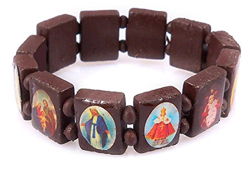 4030164 Brown Saints & Religious Icons Stretch Bracelet Wooden Wood Beads