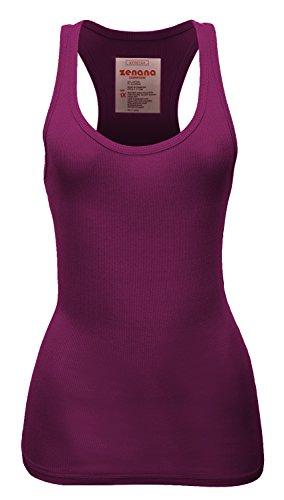 Zenana Women's Plain Solid Color Ribbed Racerback Tank Top Shirt Plus Sizes Plum Medium (Medium Plum)