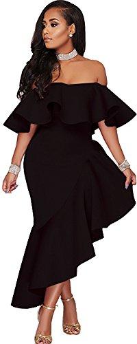 Women's 1 Maxi Bodycon Sexy Floral Dresses S 5XL Plain Cocktail Ruffle lexiart Off Shoulder Print Dresses Black pdaqp