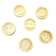 Pack of 100 Natural Wooden Buttons Handmade with Love DIY Craft for Sewing Scrapbooking 25mm