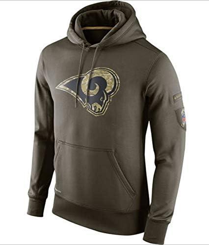 FEZD American Football Hoodie - Rams Football Team Uniform Pulloverhoodies, Langarm-3D-Logo Digital Print Hoody,XXL