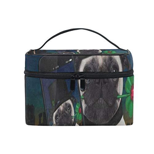 (Makeup Bag Four Leaf Clover Hipster Pug Dog Nigh Cosmetic Bag Portable Large Toiletry Bag for Women/Girls)