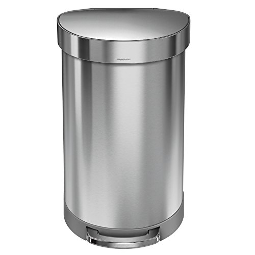 Pedal Bin Liners - simplehuman 45 Liter/12 Gallon Stainless Steel Semi-Round Kitchen Step Trash Can with Liner Rim, Brushed Stainless Steel