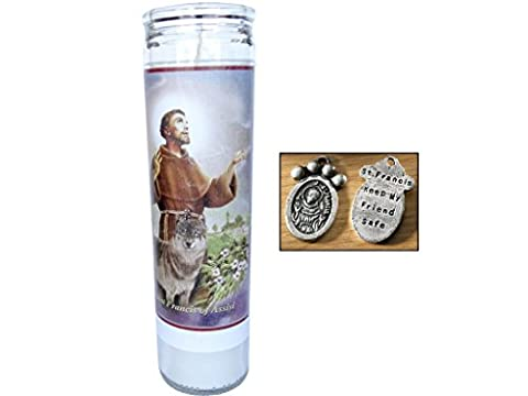 Prayer for My Pet St Francis of Assisi 1 Candle Set & St. Francis Pet Medal (St Francis Of Assisi Candle)