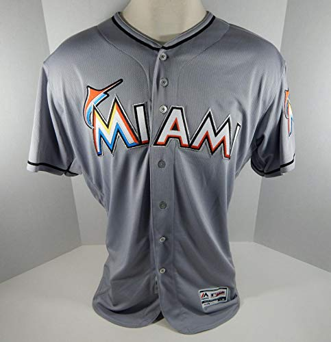 2018 Miami Marlins Blank Authentic Game Issued Grey Jersey 25th Patch Size: 50 - Game Used MLB Jerseys