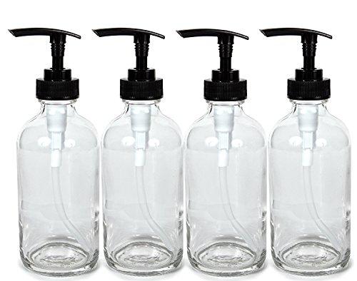 Vivaplex, 4, Large, 8 oz, Empty, Clear Glass Bottles with Black Lotion Pumps
