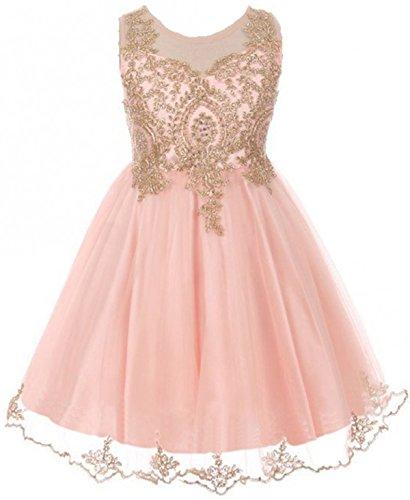 - Big Girls' Dress Sparkle Rhinestones Pageant Wedding Flower Girl Dress Blush Size 16 (M10BK49)