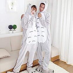 JJAIR Parejas del Gato Animal Pijamas, Traje de Navidad de Halloween de una Pieza de Cosplay de la Ropa de Noche de Las Mujeres de los Hombres,L