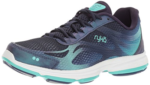 Ryka Women's Devotion Plus 2 Walking Shoe, Navy/Teal, 9 W US (Best Athletic Shoes For Arch Support)