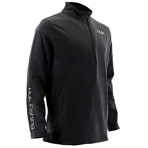 Huk Men's Tidewater 1/4 Zip Fleece Long Sleeve Shirt, Black, X-Large ()