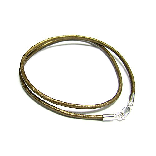 Dreambell 925 Sterling Silver Metallic Brown (kansa) Round Natural Leather Cord 2mm Choker Necklace 18 - Necklace Leather 2 Mm