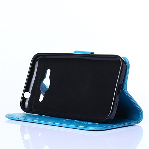 COOLKE Retro Mariposas Patrón PU Leather Wallet With Card Pouch Stand de protección Funda Carcasa Cuero Tapa Case Cover para Samsung Galaxy Core Prime - Rose Azul