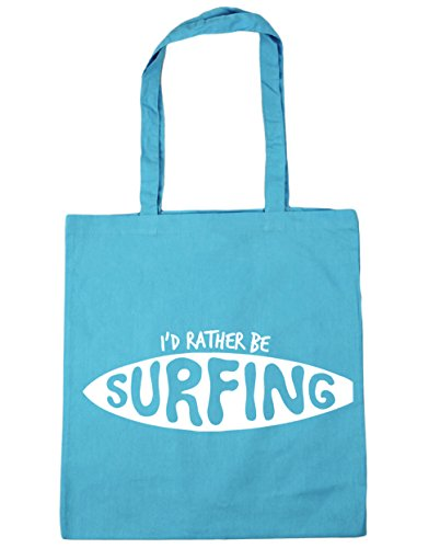 HippoWarehouse I 'd Rather BE SURFING Tote Compras Bolsa de playa 42cm x38cm, 10litros azul (Surf Blue)