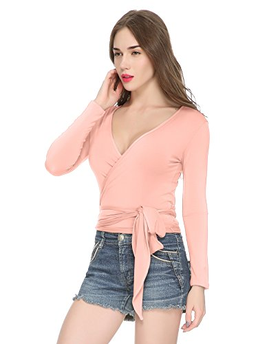 Maggie Tang Women's Convertible Long Sleeve Wrap Cross Over Blouse Top Pink L