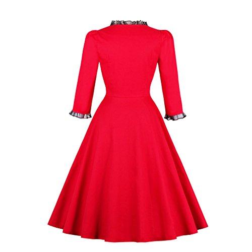 Vestido Dissa para mujer Rojo trapecio pUdawdXq