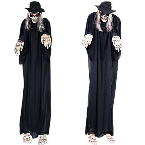 elegantstunning 1.4M Large Halloween Decor Yard Haunted House Fearful Animated Hanging Grim Reaper Ghost Skull by elegantstunning