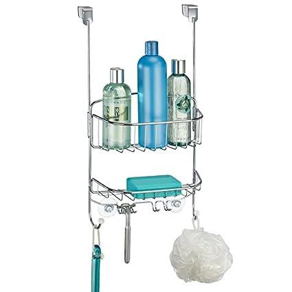 Amazon.com: mDesign Bathroom Over Door Shower Caddy for Shampoo ...