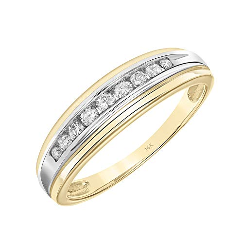 Brilliant Expressions 14K Yellow Gold 1/5 Cttw Conflict Free Diamond Channel-Set Wedding or Anniversary Band (I-J Color, I2-I3 Clarity), Size -