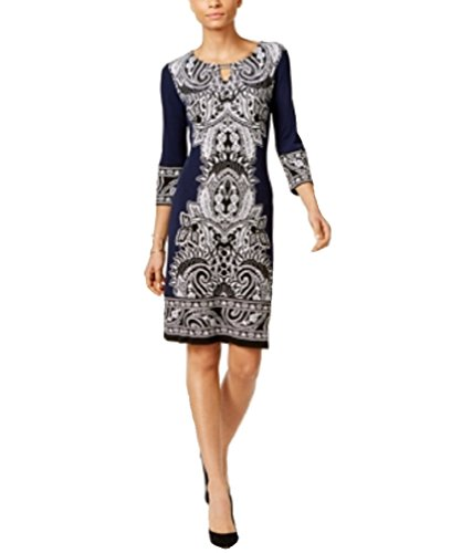 JM Collection Printed Sheath Dress (Blue, L) from JM Collection