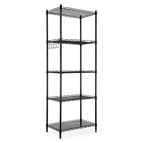 Cozzine 5 Tier Storage Shelves, Adjustable Storage Shelves Heavy Duty Steel Tube Wire Shelving Unit (Black)