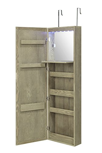 Wall Mounted Over the Door Makeup Organizer Beauty Armoire with LED Lights and Stowaway Mirror by Abington Lane by Abington Lane