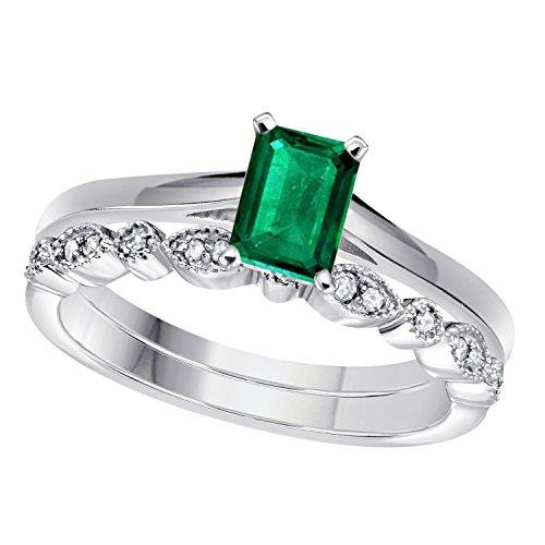 1.00 Ct Emerald Shape & Round Cut Green Emerald & White CZ Diamond 14k White Gold Plated Art Deco Vintage Design Wedding Bridal Set Engagement Ring