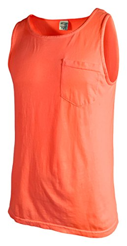 Comfort Colors Men's Preshrunk Left Chest Pocket Tank Top_Neon Red - Neon Outfits Color