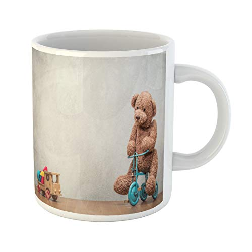Semtomn Funny Coffee Mug Teddy Bear Sitting on Old Retro Toy Tricycle 11 Oz Ceramic Coffee Mugs Tea Cup Best Gift Or Souvenir ()