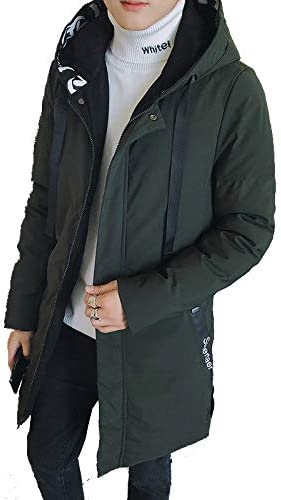 555 Thick CGsuGl CGsuGl Winter FGshion Down JGcket//Men\'s Long CoGt Hooded Cotton CoGt//Grmy Green//XL