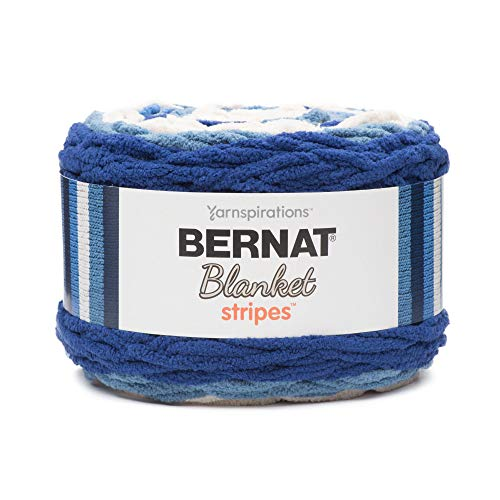 Bernat Blanket Stripes Yarn, 10.5 oz, Gauge 6 Super Bulky Chunky, Blue Moon