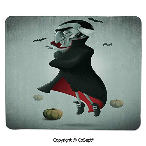 Non-Slip Rubber Base Mousepad,Creepy Halloween Night Pumpkins and Old Vampire with Cape Flying Bats,for Computer,Laptop,Home,Office & Travel(11.81