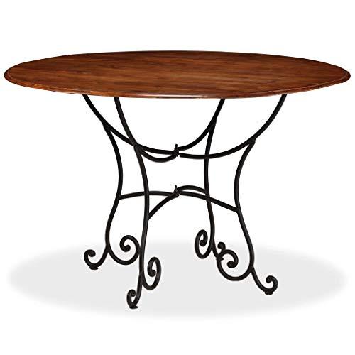 Festnight Tavolo da Pranzo Rotondo Design Retro Vintage in Legno Massello e  Acciaio,Tavolo Rotondo da Cucina Legno Classico,Tavolo Rotondo da Giardino  ...