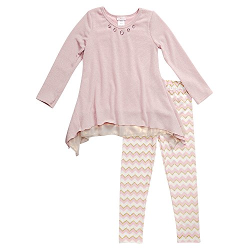 Youngland Little Girls' Tiered Sweater Knit Tunic with Chevron Legging, Pink/Gold, 5 by Youngland