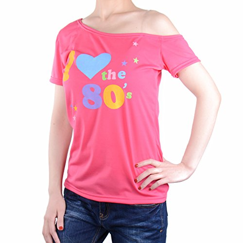 Women's I Love The 80's T-Shirt Off-Shoulder Disco Top (Medium, Pink) (Disco Clothing 80's)