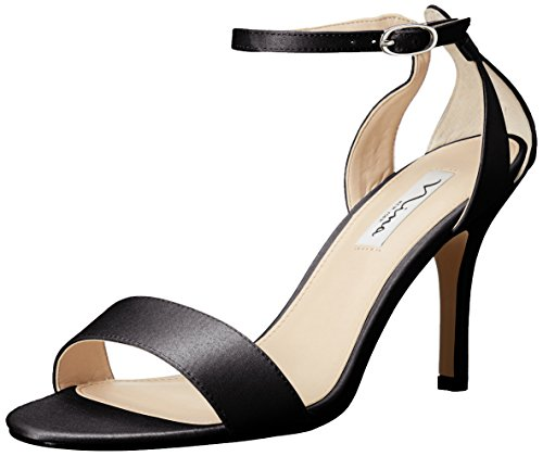 (Nina Women's Venetia-Ls Dress Sandal, Black Luster Satin, 6.5 M)