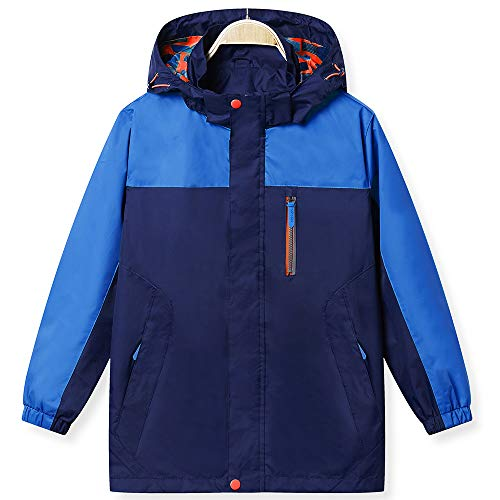 (KID1234 Boys' Lightweight Rain Jacket Quick Dry Waterproof Hooded Coat Deep Sky Blue)